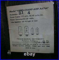 1967 Fender Vibro Champ Vintage Blackface Tube Guitar Amplifier Pristine Amp