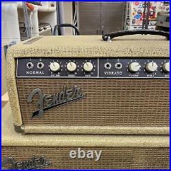 Vintage 1962 Fender Bandmaster Tube Amp Head Piggyback Cabinet Jensens Original