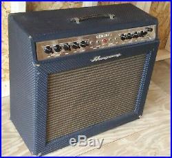 Vintage 1966 Ampeg Gemini I 1x12 Amplfier G-12 Model, Vintage 7591 Tube Amp