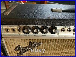 Vintage 1968 Fender Twin Reverb Silverface Drip Edge Guitar 6L6 Tube Amp AB763