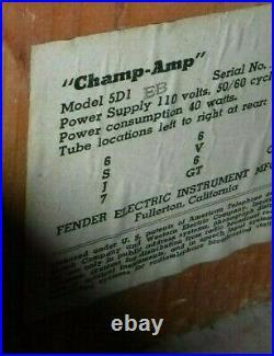 Vintage Fender 5D1 Champ Tube Amp