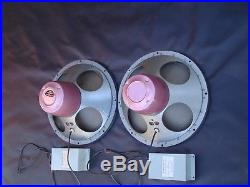 Vintage Pair Tannoy Red Dual Concentric Monitor 15 Speakers For Tube Amplifiers